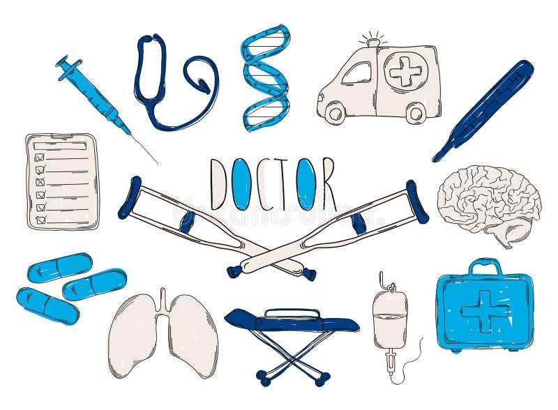 El ejemplo de los niños coloridos con un lápiz La colección de iconos dibujados mano linear Los iconos equipan al doctor libre illustration