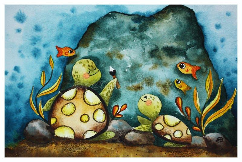 El ejemplo de los niños con las tortugas ilustración del vector
