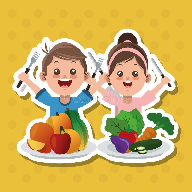 El ejemplo de los niños menú, del diseño del vector, de la comida y de la nutrición se relacionó ilustración del vector