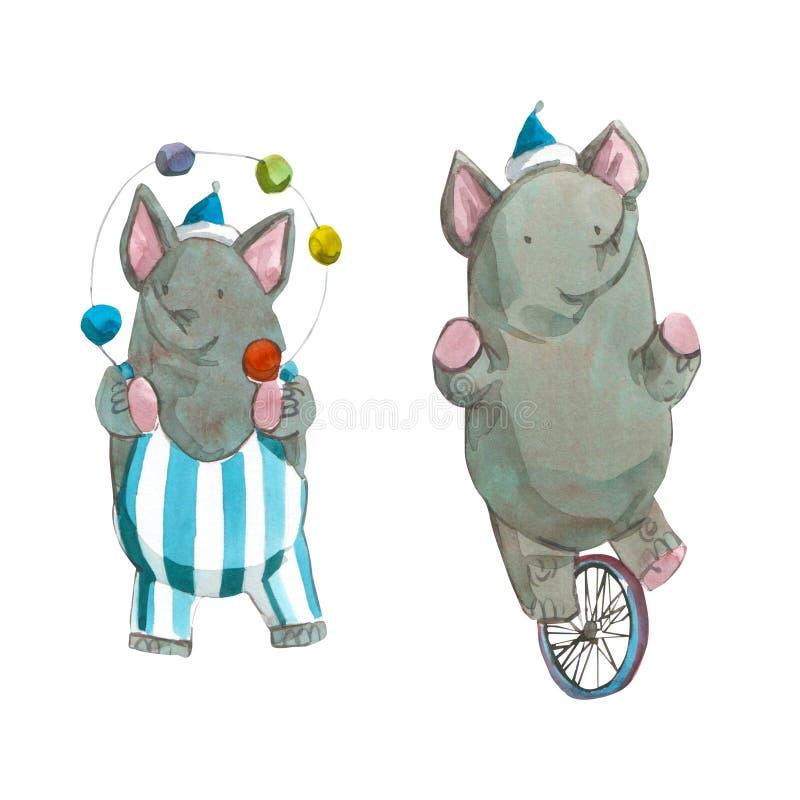 El ejemplo de los niños de Watrcolor del elefante lindo del circo aislado en el fondo blanco stock de ilustración