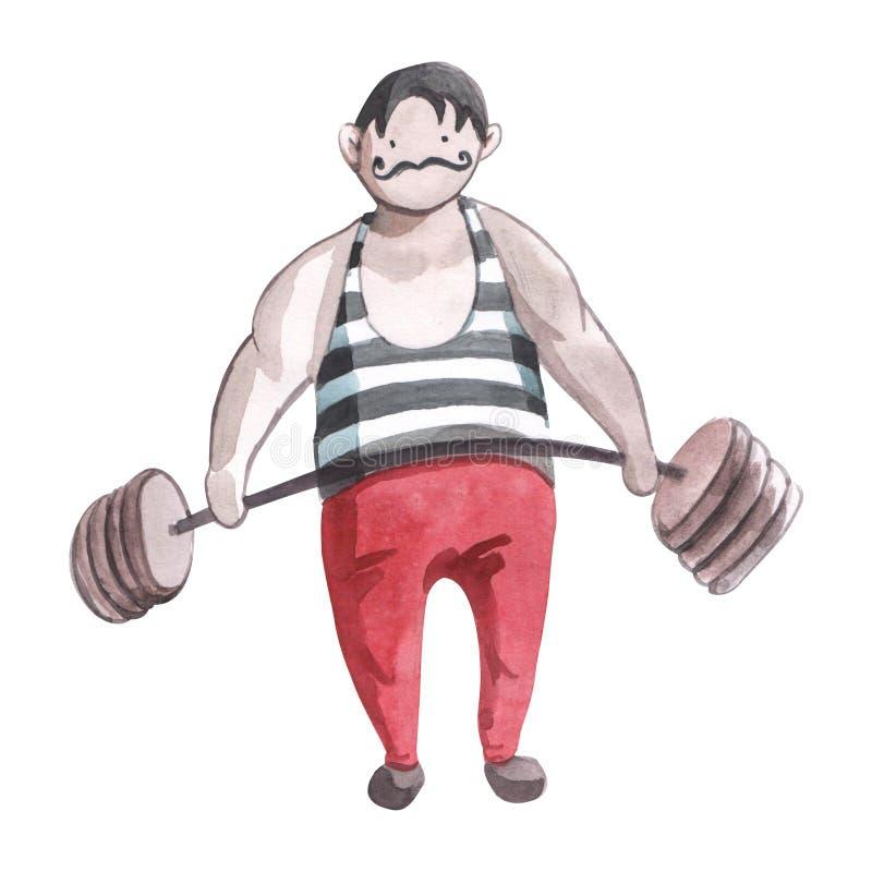 El ejemplo de los niños de Watrcolor del hombre fuerte del circo lindo aislado en el fondo blanco libre illustration