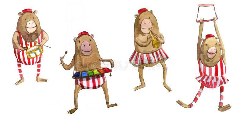 El ejemplo de los niños de Watrcolor del mono lindo del circo aislado en el fondo blanco ilustración del vector