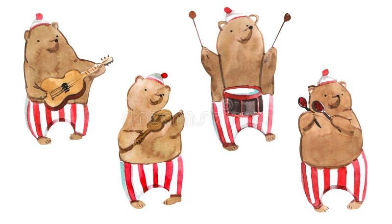 El ejemplo de los niños de Watrcolor del oso lindo del circo aislado en el fondo blanco ilustración del vector