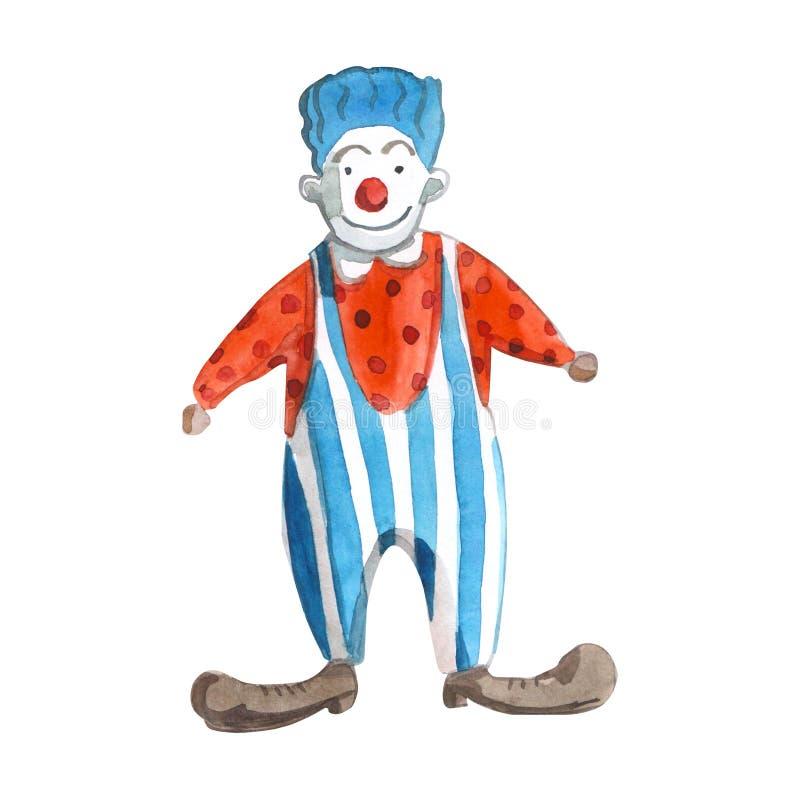 El ejemplo de los niños de Watrcolor del payaso de circo lindo aislado en el fondo blanco stock de ilustración