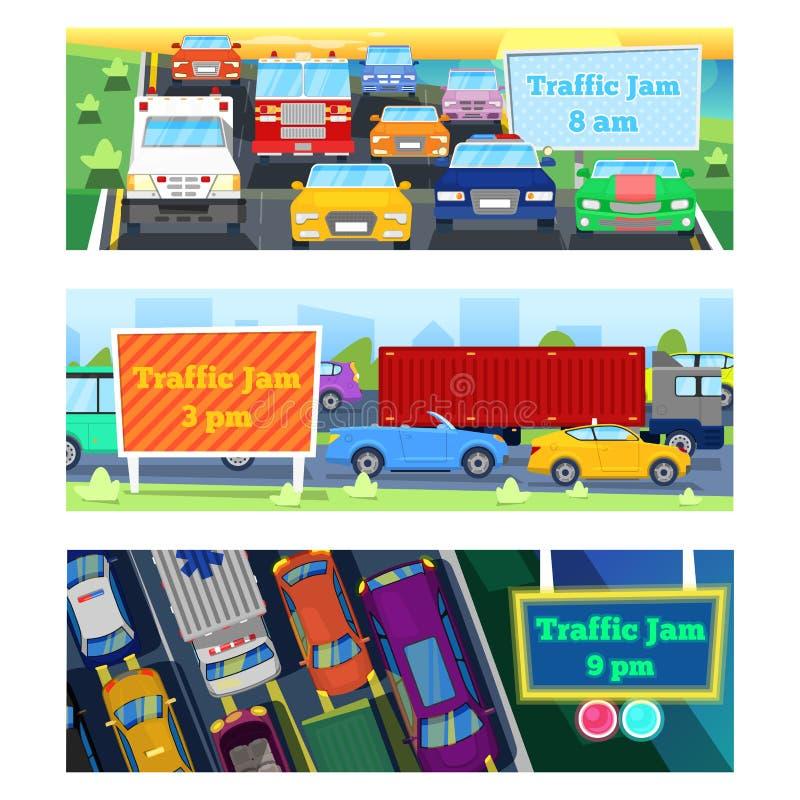 El ejemplo de los problemas de transporte del vector del atasco del camino del tráfico en la ciudad de la noche y del día transpo libre illustration