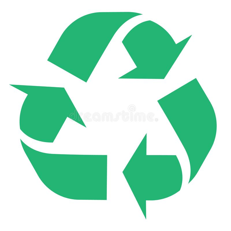 El ejemplo de recicla y el símbolo inútil cero con las flechas verdes en la forma de triángulo aislada en el fondo blanco Eco libre illustration