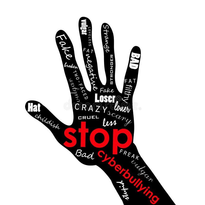 El ejemplo de tenar, mano con poner letras a tiranizar, intimida, tiraniza, se acobarda, intimidó, fanfarronea, desanima Media so ilustración del vector