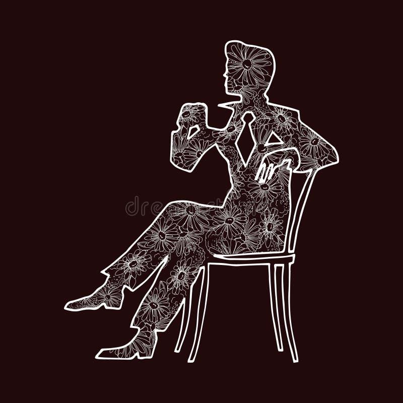 El ejemplo de un hombre bebe una bebida de una taza libre illustration