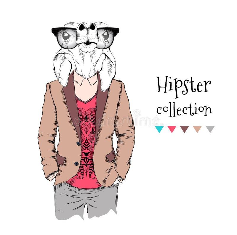 El ejemplo de un inconformista divertido de los ciervos de huevas se vistió para arriba en chaqueta, pantalones y suéter Ilustrac libre illustration
