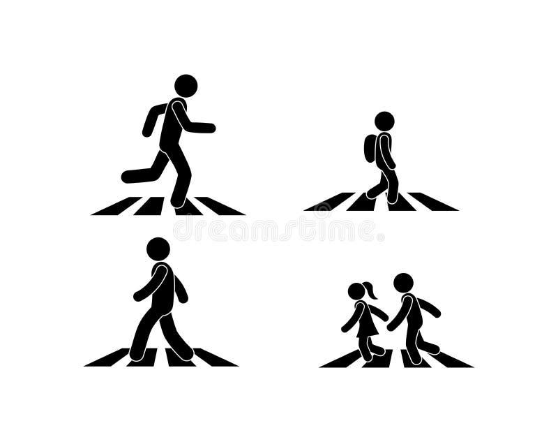 el ejemplo de un paso de peatones, el peatón está en la cebra libre illustration