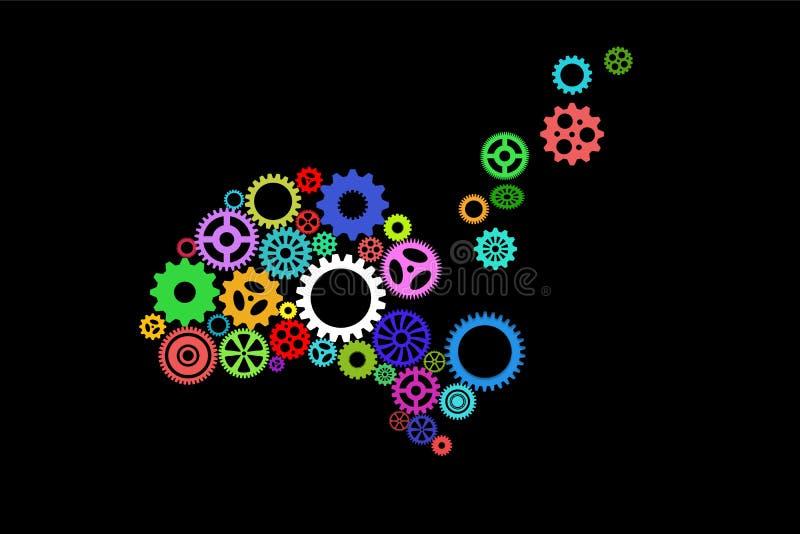 El ejemplo de un ser humano tenía con los engranajes de giro que desbordaban su esquema, no funcionando correctamente, sugiriendo ilustración del vector