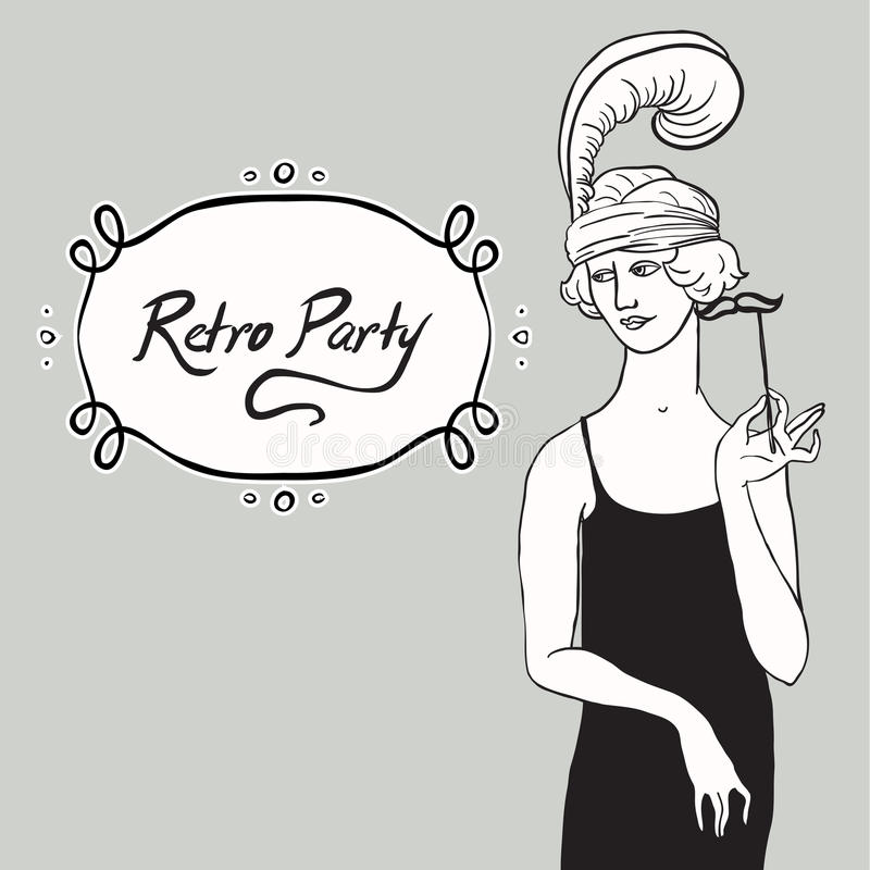 El ejemplo de una mujer se vistió en la moda 1930 del ` s libre illustration