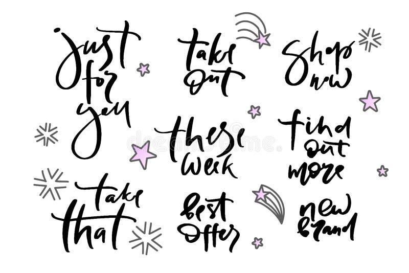 El ejemplo de WebVector de poner letras apenas para usted, toma que, saque, esta semana, mejor ahora ofrece, tienda, descubre más stock de ilustración