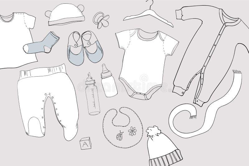 El ejemplo del bebé dibujado mano viste la coordinación de la endecha del plano en el fondo blanco Collage de los niños Visión su ilustración del vector