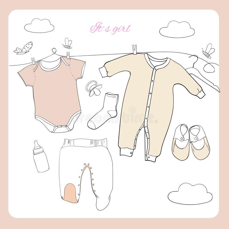 El ejemplo del bebé dibujado mano viste la coordinación de la endecha del plano en el fondo blanco Collage de los niños Visión su stock de ilustración