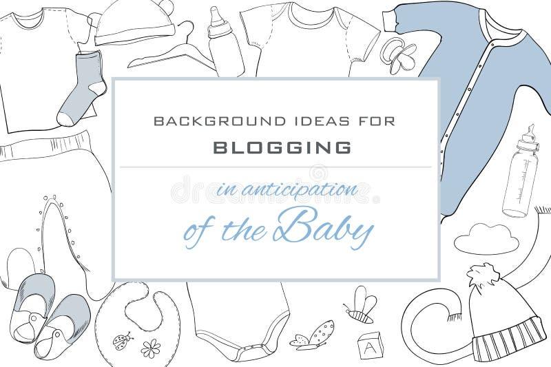 El ejemplo del bebé dibujado mano viste la coordinación de la endecha del plano en el fondo blanco Collage de los niños Visión su libre illustration