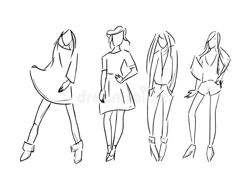 El ejemplo del bosquejo del sistema de la muchacha de la moda aisl? ilustración del vector