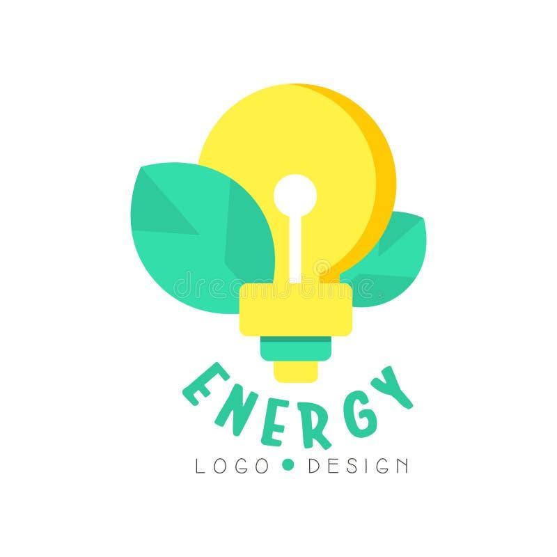 El ejemplo del bulbo de la luz eléctrica y las hojas para el logotipo verde de la energía diseñan la plantilla Asunto respetuoso  ilustración del vector