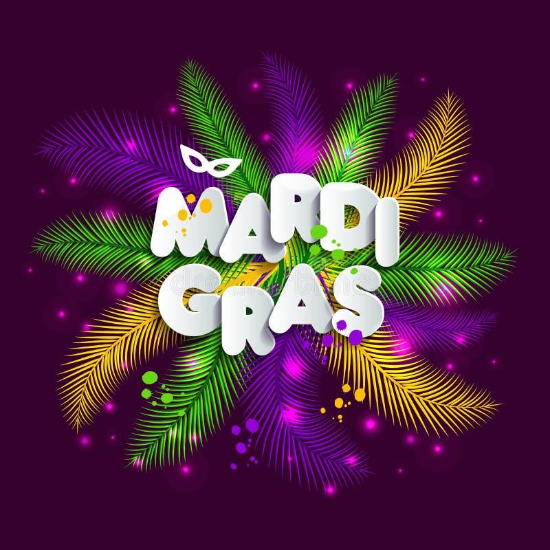 El ejemplo del carnaval del carnaval en multicolors empluma, los colores de Mardi Gras Texto del estilo de papel libre illustration