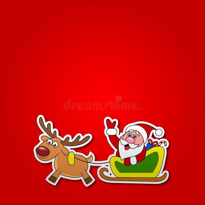 El corte del papel de Santa conduce su trineo libre illustration
