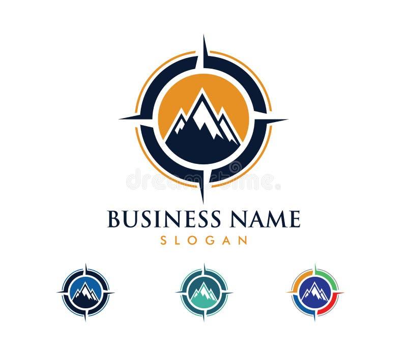 El ejemplo del diseño del logotipo del vector para la agencia del viaje del viaje, aventura del compás de la navegación de la ubi stock de ilustración