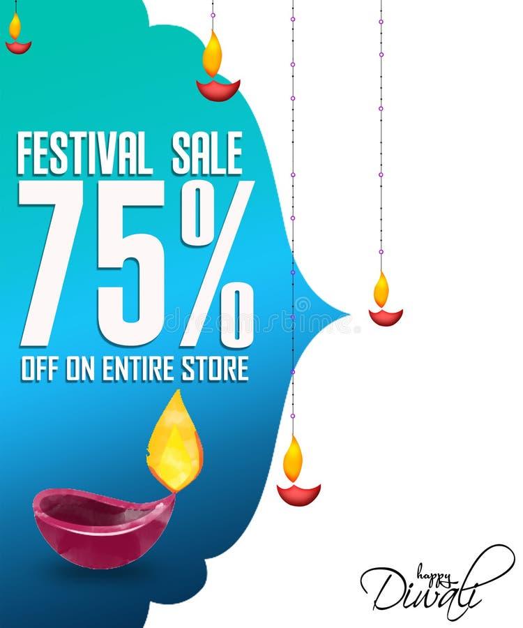 El ejemplo del diwali ofrece el diya adornado las banderas de la venta para la venta del diwali ilustración del vector