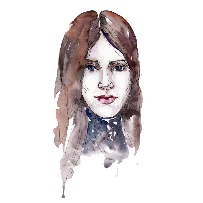 El ejemplo del encanto de la moda del bosquejo de la cara del ` s de la muchacha stock de ilustración