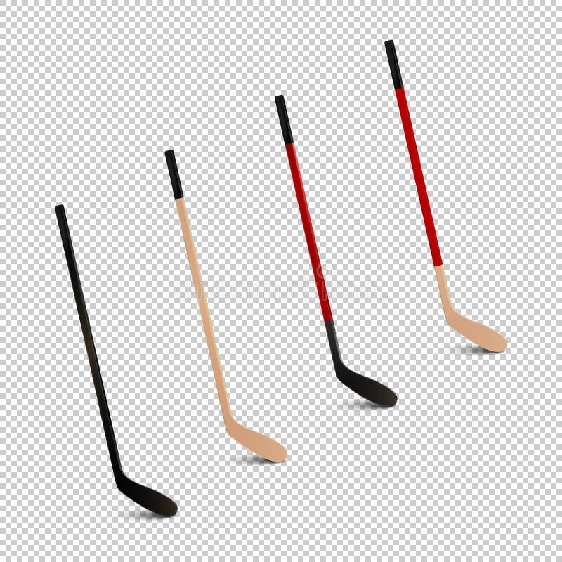 El ejemplo del icono realista de los deportes fijó - los palillos del hockey sobre hielo Plantillas del diseño en vector Primer a stock de ilustración