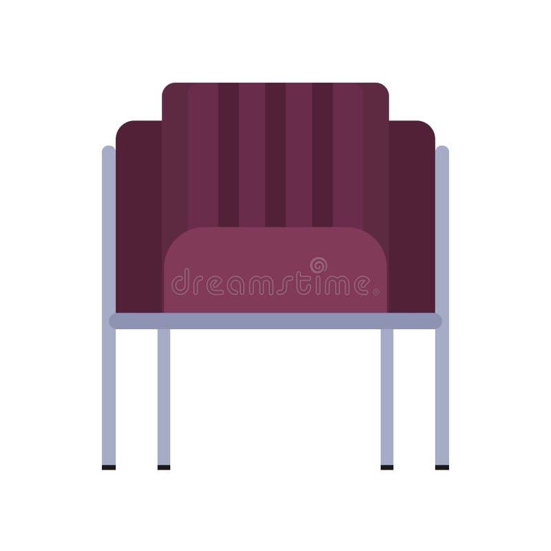 El ejemplo del icono del vector de los muebles de la vista delantera de la butaca aisló Asiento casero cómodo interior moderno re ilustración del vector