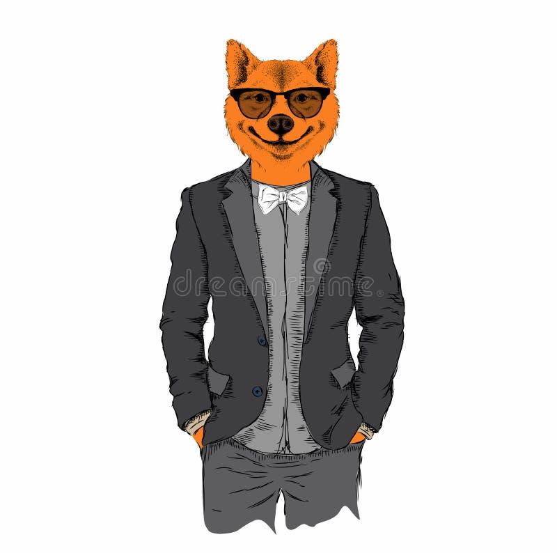 El ejemplo del inconformista del zorro se vistió para arriba en chaqueta, pantalones y suéter Ilustración del vector stock de ilustración