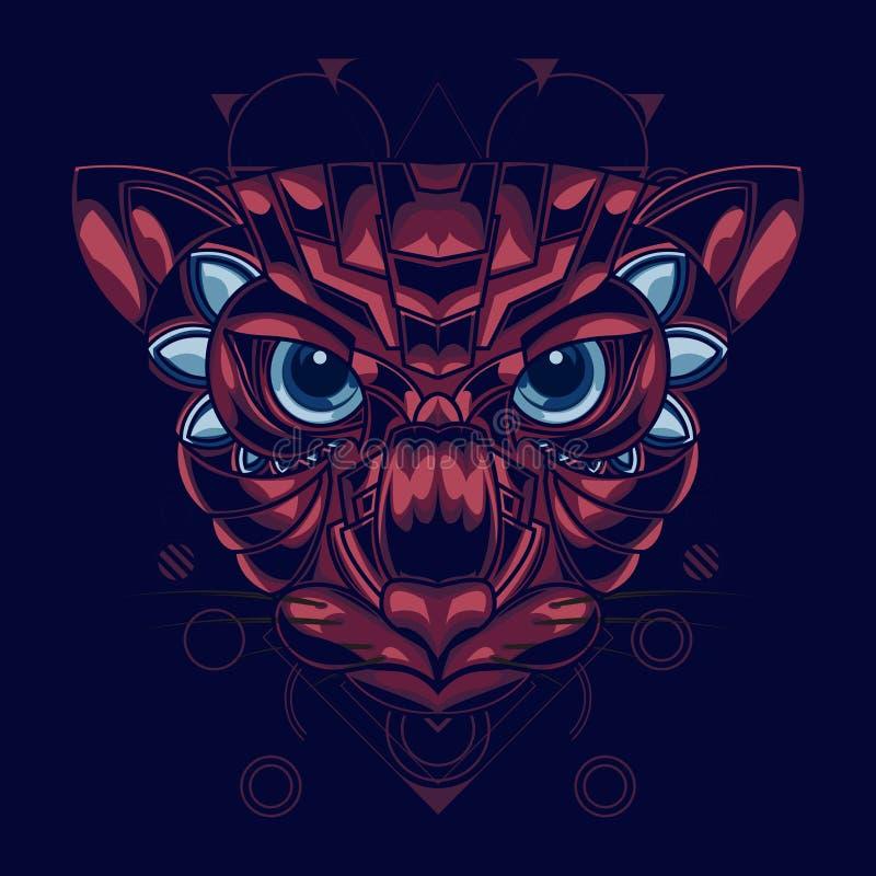 El ejemplo del los gatos dirige con la combinación de color roja y azul y un estilo ornamental atractivo y único ilustración del vector