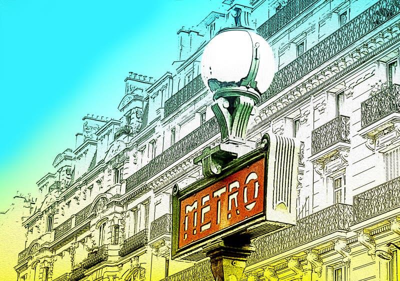 El ejemplo del metro firma adentro París, Francia ilustración del vector