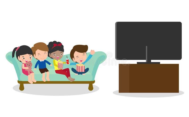 El ejemplo del niño que mira la TV, el niño pequeño y a la muchacha mira la televisión libre illustration