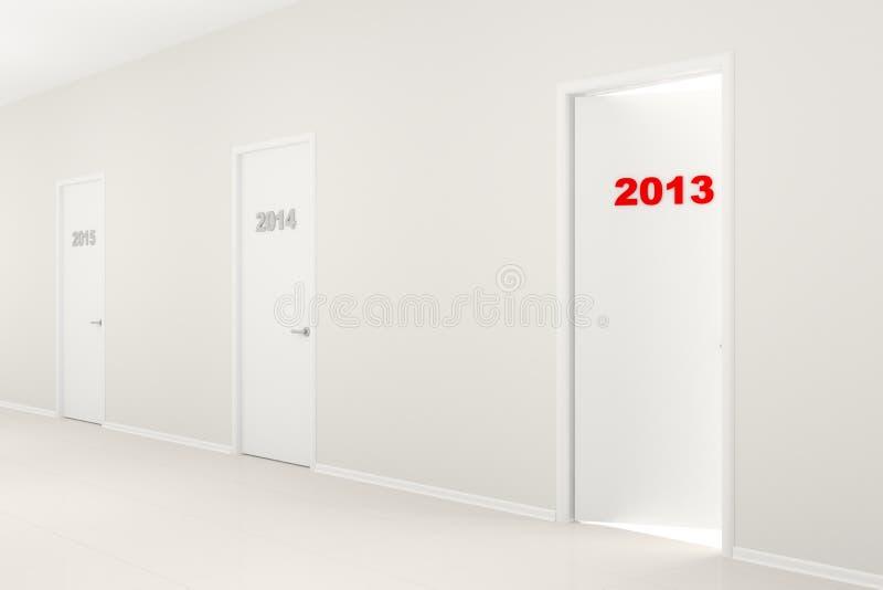 El ejemplo del A?o Nuevo - pasillo con las puertas stock de ilustración