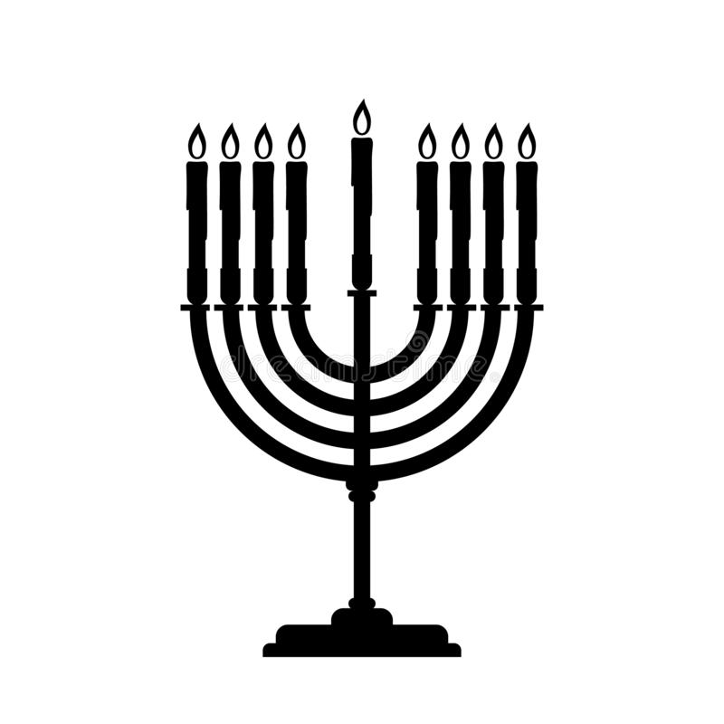 El ejemplo del símbolo del vector de Menorah negro para Jánuca se aísla en el fondo blanco simple stock de ilustración