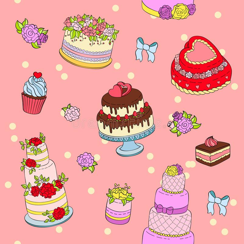 El ejemplo del sistema del pastel de bodas se casa el postre de crema de las decoraciones de la torta de la fiesta de cumpleaños  stock de ilustración