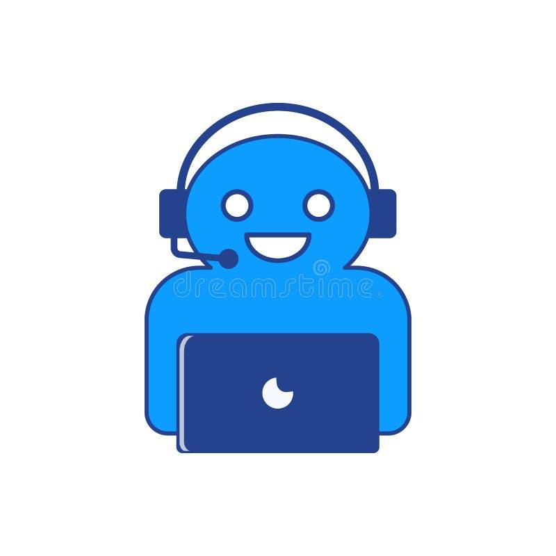 El ejemplo del vector del carácter en línea del chatbot fotos de archivo