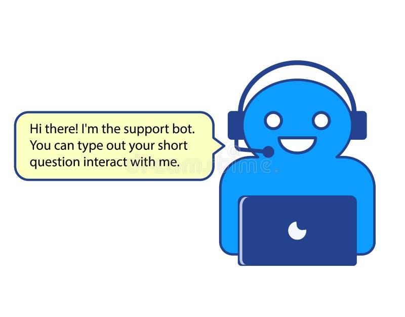 El ejemplo del vector del carácter en línea del chatbot foto de archivo