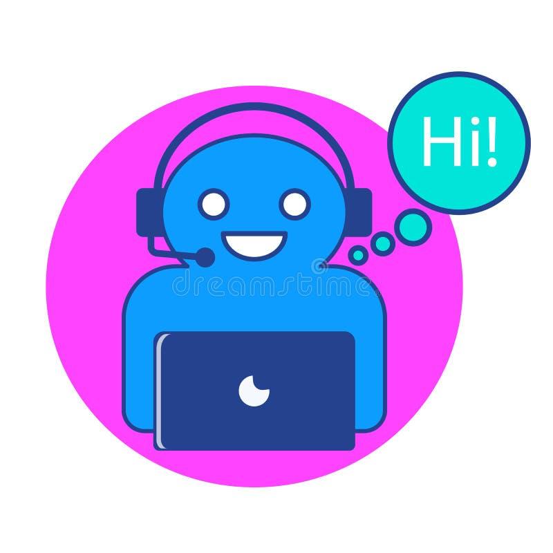 El ejemplo del vector del carácter en línea del chatbot con el ordenador imagen de archivo libre de regalías