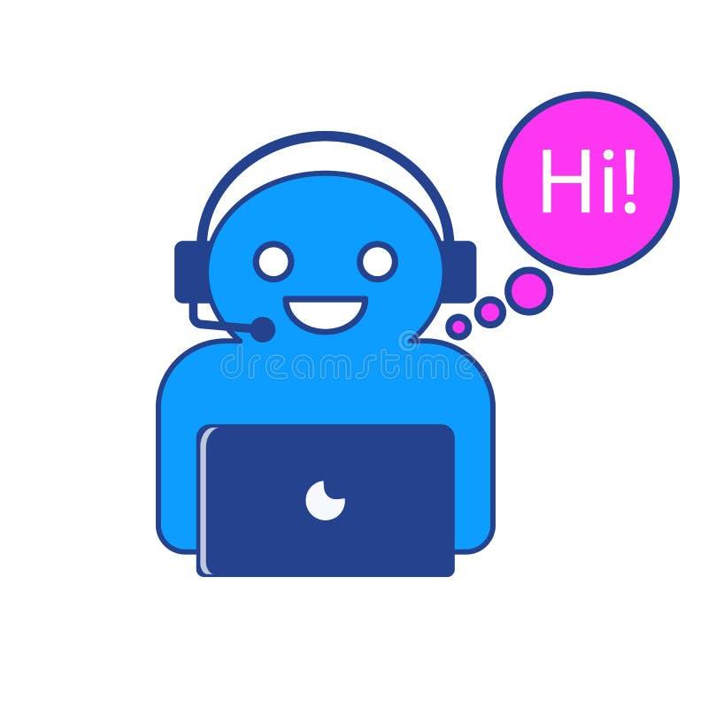 El ejemplo del vector del carácter en línea del chatbot que está diciendo hola imagen de archivo libre de regalías
