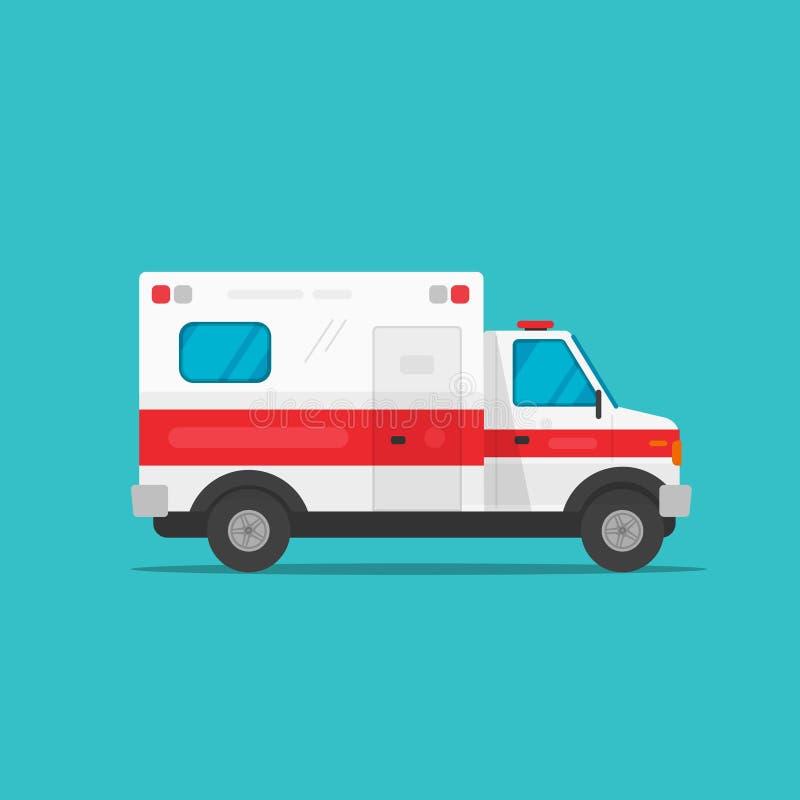 El ejemplo del vector del coche del automóvil de la emergencia de la ambulancia, vista lateral auto del vehículo médico plano de  ilustración del vector