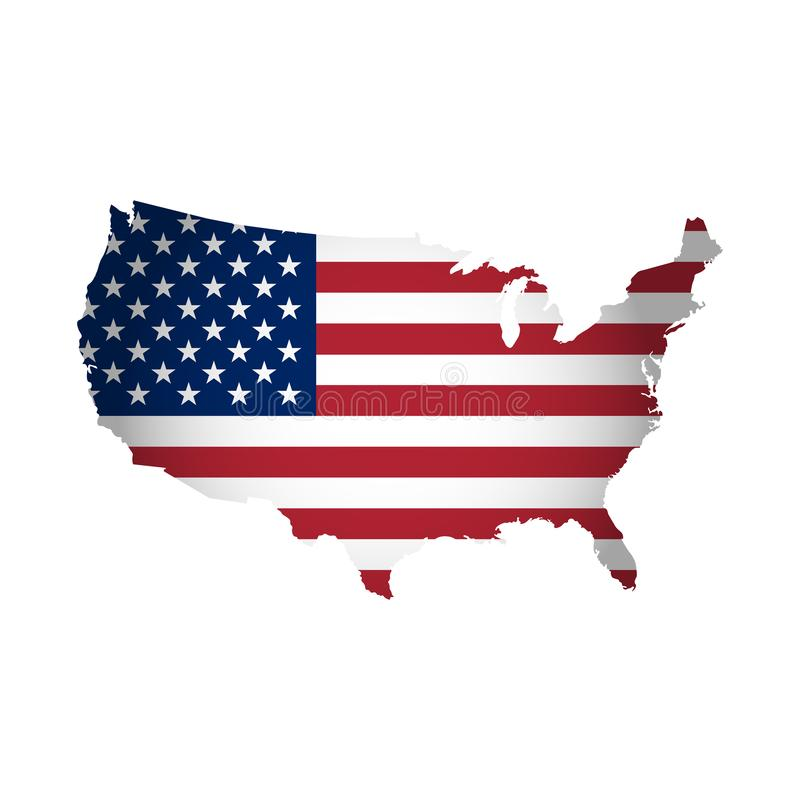 El ejemplo del vector con la bandera nacional americana con la forma de los E.E.U.U. traza Estrellas y rayas Colores rojos, azule ilustración del vector