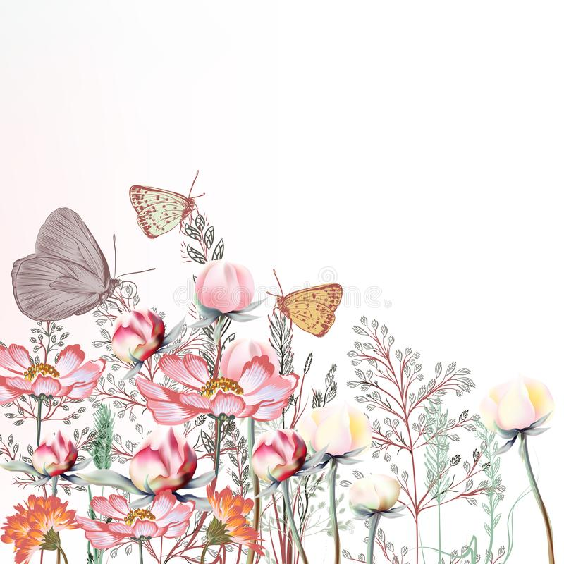 El ejemplo del vector de 18 flores con cosmos y la peonía florece stock de ilustración