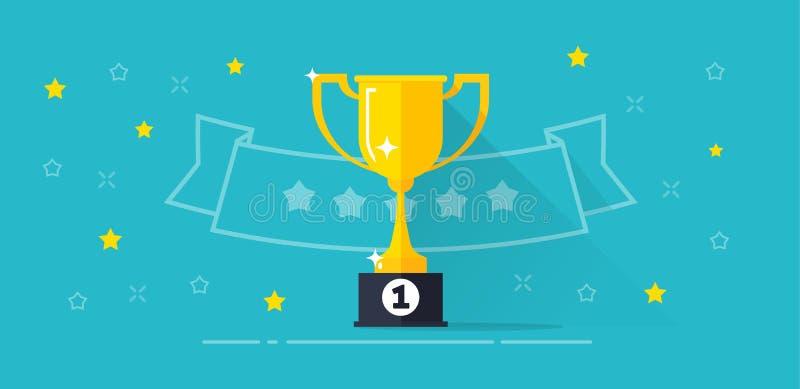 El ejemplo del vector de la bandera del premio del ganador, la taza de oro del trofeo plano de la historieta con el primer premio libre illustration