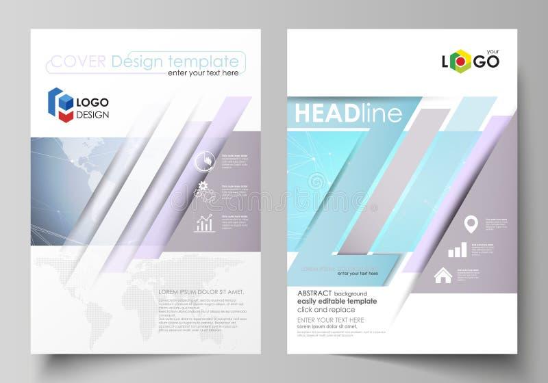 El ejemplo del vector de la disposición editable de dos cubiertas modernas del formato A4 diseña las plantillas para el folleto,  ilustración del vector