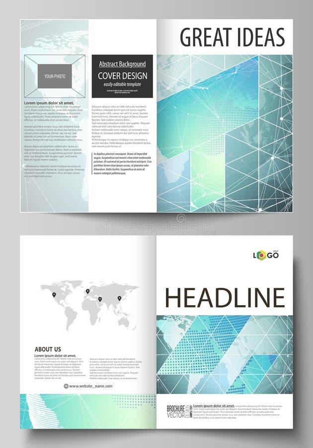 El ejemplo del vector de la disposición editable de dos maquetas modernas de la cubierta del formato A4 diseña las plantillas par stock de ilustración