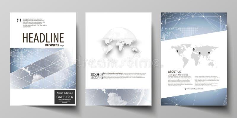 El ejemplo del vector de la disposición editable de tres cubiertas modernas del formato A4 diseña las plantillas para el folleto, libre illustration
