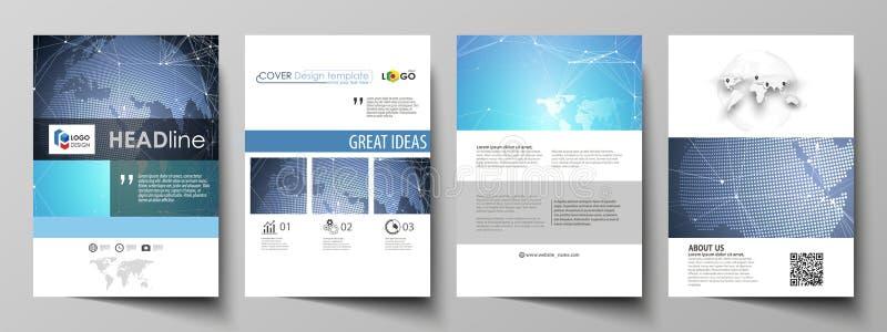 El ejemplo del vector de la disposición editable de las cubiertas del formato A4 diseña las plantillas para el folleto, revista,  stock de ilustración