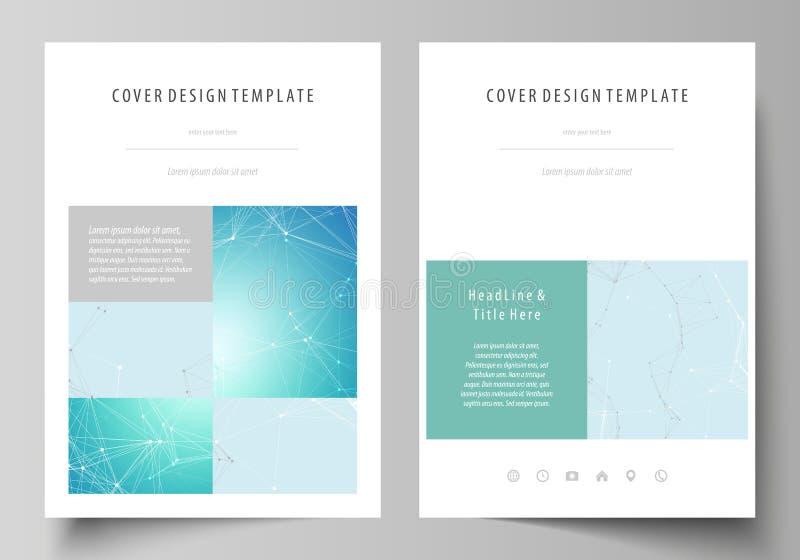 El ejemplo del vector de la disposición editable de las cubiertas del formato A4 diseña las plantillas para el folleto, revista,  ilustración del vector