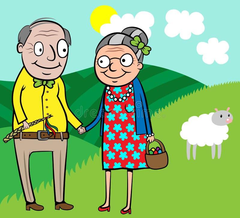 Los viejos pares felices celebran Pascua stock de ilustración